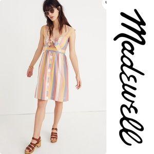 Madewell Tie-Front Cutout Dress in Sherbet Stripe